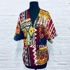 ❗️lndustry B Silk Aztec Print Kimono MSRP $128!